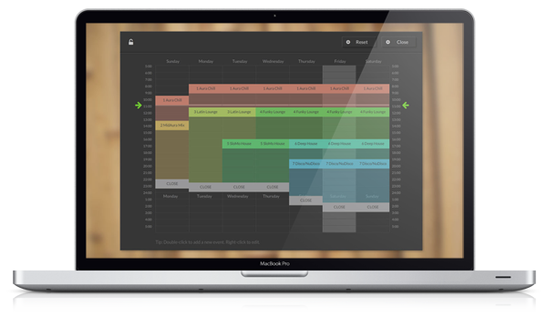 Music consultancy and playlists for restaurants, bars, events and brands software image of calendar